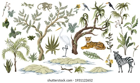 Jungles trees and animals isolated. Trendy tropical print.