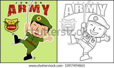 Junior Army Cartoon Coloring Book Page Stock Vector (Royalty Free ...