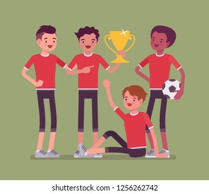 Junior football or soccer players team winner. Group of boys in uniform after game, professional footballer club with prize, happy guys enjoy sport achievement. Vector flat style cartoon illustration