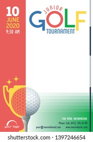 Junior Golf Tournament poster template. Place for your text message. Vector illustration.