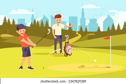 Junior Golfer Practicing on Driving Range, Father Watch Training. Dad and Son Passing Time Together Playing Golf at Summer Day. Family Leisure. Green Course Background Cartoon Flat Vector Illustration