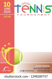 Junior Tennis Tournament poster template. Place for your text message. Vector illustration.