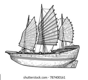 Junk boat illustration, drawing, engraving, ink, line art, vector
