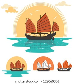Junk Boat: Illustration of junk boat at sunset. Below are 3 additional simplified variations.  No transparency and gradients used.