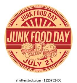 Junk Food Day,  July 21, rubber stamp, vector Illustration
