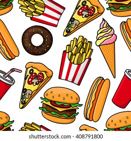 Junk food and drinks seamless pattern with cheeseburgers, hot dogs, pizza, french fries, takeaway soda, vanilla and strawberry ice cream cones and chocolate donuts on white background