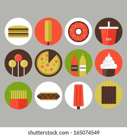 Junk food and fast food icons