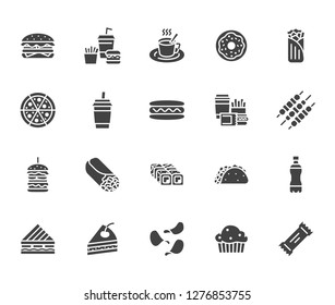 Junk food flat glyph icons set. Burger, fast snacks, sandwich, french fries, hot dog, mexican burrito, pizza vector illustrations. Signs for restaurant menu. Solid silhouette pixel perfect 64x64.