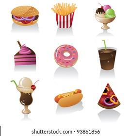 Junk Food Icon Symbol Set EPS 8 vector, grouped for easy editing. No open shapes or paths.