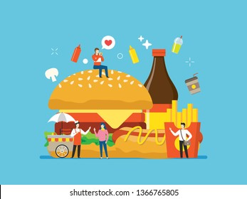 Junk food, street food with tiny people illustration. suitable for food related website, restaurant menu, health infographic, poster, and educational purpose.