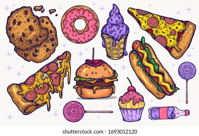 Junk food and sweets candy vector hand drawn isolated clipart elements for graphic design projects. illustrated delicious food icons and candy, kawaii colors , bright sugary treats. pizza, burgers.