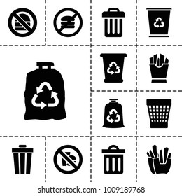 Junk icons. set of 13 editable filled junk icons such as recycle bin, trash bag, trash bin, french fries, no fast food