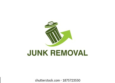 Junk removal logo design, environmentally friendly garbage disposal service, simple minimalist design icon.