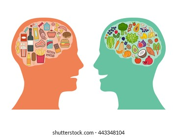Junk unhealthy food and healthy vegetables diet comparison, best food for brain concept