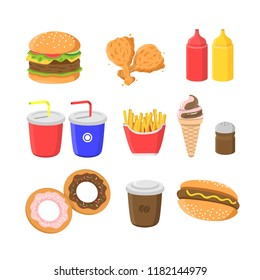 junkfood and fastfood vector illustration set