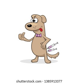 Junky dog in a butterfly tie with medical syringe vector illustration