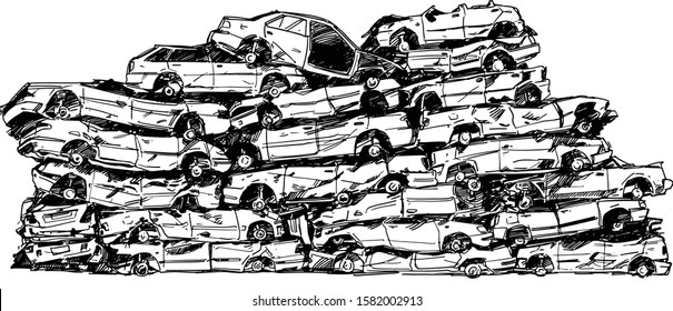 Junkyard Cars Hand Drawn Illustration