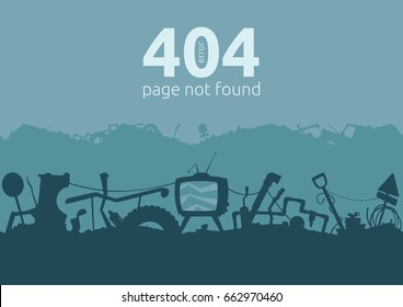 Junkyard error 404 page template. Seamless silhouette patterns