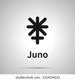 Juno astronomical sign, simple black icon with shadow on gray