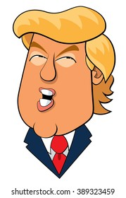 Jupiter, Florida - March 9, 2016  A vector illustration caricature of Donald Trump addressing a rally of supporters.