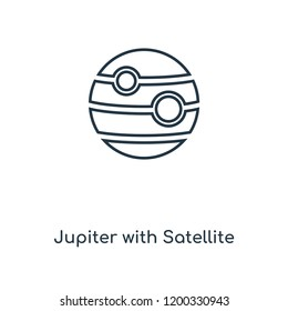 Jupiter with Satellite concept line icon. Linear Jupiter with Satellite concept outline symbol design. This simple element illustration can be used for web and mobile UI/UX.