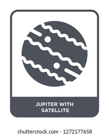 jupiter with satellite icon vector on white background, jupiter with satellite trendy filled icons from Astronomy collection, jupiter with satellite simple element illustration