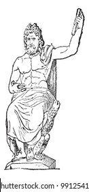 Jupiter at Vatican museum, vintage engraved illustration. Dictionary of words and things - Larive and Fleury - 1895.