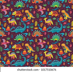 Jurassic era cartoon animals seamless pattern. Vector illustration. Ideal for childrens and kids print, surface pattern
