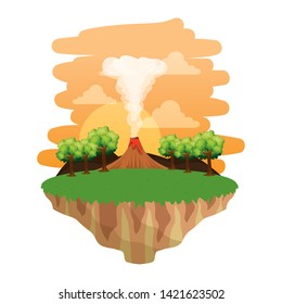 jurassic landscape with smoking volcano scene