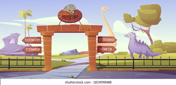 Jurassic park gates with pointers to dinosaurs triceratops, pteranodon, stegosaurus, oviraptor areas. Outdoor dino zoo with prehistoric era landscapek, rocks and palm trees Cartoon vector illustration