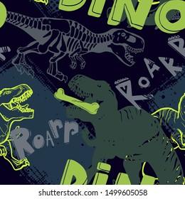 Jurassic period, dinosaur creative flat seamless pattern. Prehistoric animal hand drawn texture. Tyrannosaurus  decorative backdrop.