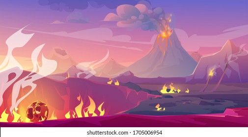 Jurassic period landscape with erupted volcano and fallen meteor. Vector cartoon illustration of prehistoric Earth surface with meteorite crater, fire, lava flows and smoke