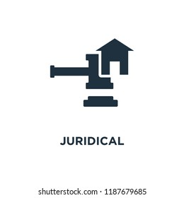 Juridical icon. Black filled vector illustration. Juridical symbol on white background. Can be used in web and mobile.