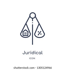 juridical icon from real estate outline collection. Thin line juridical icon isolated on white background.