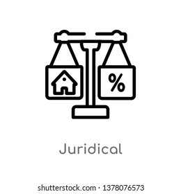juridical vector line icon. Simple element illustration. juridical outline icon from real estate concept. Can be used for web and mobile