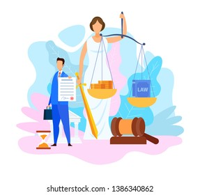 Juris Doctor Degree Program Vector Illustration. Lawyer Holding Insurance Contract Cartoon Character. Faceless Roman Goddess. Legal Book and Money in Scales. Balance Metaphor. Woman with Sword