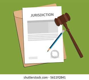 jurisdiction concept illustration with paper work signing signed with gavel and folder document
