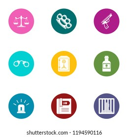 Jurisdiction icons set. Flat set of 9 jurisdiction vector icons for web isolated on white background
