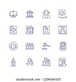 Jurisdiction line icon set. Courthouse, judge gavel, scale. Law concept. Can be used for topics like justice, court, crime
