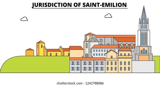Jurisdiction Of Saint-Emilion  line travel landmark, skyline, vector design. Jurisdiction Of Saint-Emilion  linear illustration.