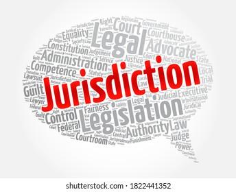 Gerichtsstandswort Cloud-Collage, Hintergrund des Rechtskonzepts
