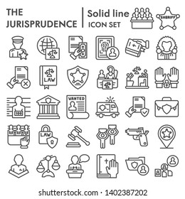 Jurisprudence line icon set, lawsymbols collection, vector sketches, logo illustrations, court signs linear pictograms package isolated on white background, eps 10