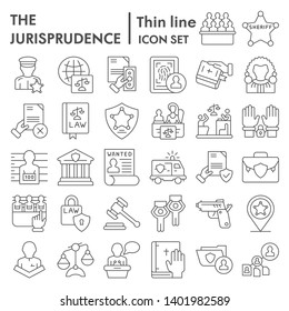 Jurisprudence thin line icon set, lawsymbols collection, vector sketches, logo illustrations, court signs linear pictograms package isolated on white background, eps 10