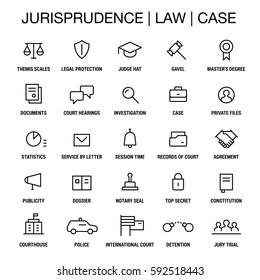 Juristic icons set. Thin lines. Black on white.