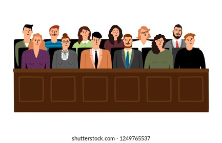 Jury in court trial vector illustration. People in judging process, sittingin jury box, isolated on white background