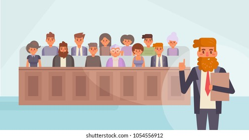 Jury in court. Vector. Cartoon. Isolated art. Flat
