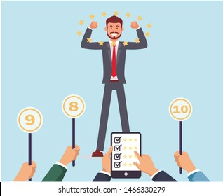 Jury Gives Success Employee Top Marks. Recruiting. Open Vacancy. Candidate for Position. Businessman in Business Suit. Vector Illustration. Explore Workflow. Recruitment Agency. Be Leader.