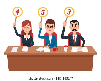 Jury. Judges group show scorecards with assessment opinion or score. Judge people on quiz show, college evaluation flat vector illustration
