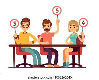Jury judges holding scorecards. Quiz people show competition vector concept. Jury group committee, holding scorecard with number illustration