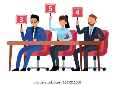 Jury judges holding scorecards. Quiz people show. Professional competition judges, trivia game jury vector cartoon illustration